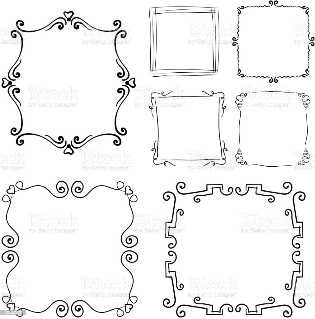 Set of hand drawn doodle frames vector art illustration