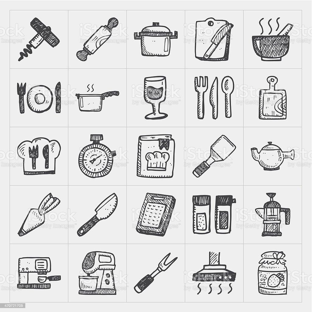 Küche Symbole | Gekritzel Kuche Symbole Stock Vektor Art Und Mehr Bilder Von
