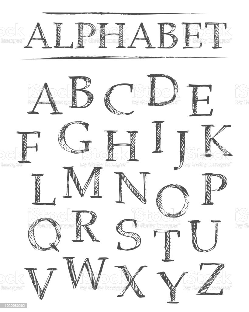 Set Of Hand Drawn Doodle Letters Alphabet Stock Illustration