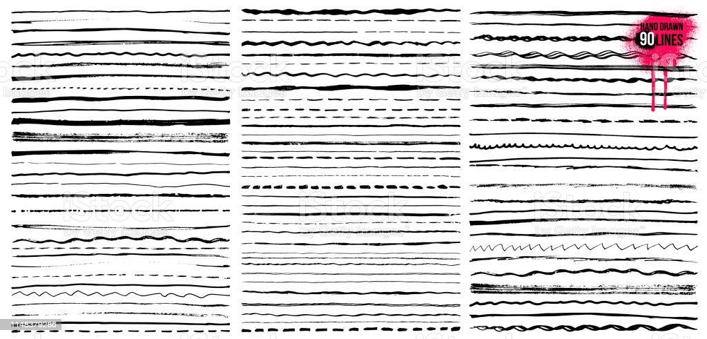 Set of Hand drawn doodle lines. Pen stroke sketch. Vintage underline border elements, cartoon frame set, pencil grunge decoration. Freehand drawing. Vector illustration. Isolated on white background. - Royalty-free Antigo arte vetorial