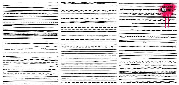 Set Of Hand Drawn Doodle Lines Pen Stroke Sketch Vintage Underline Border Elements Cartoon Frame Set Pencil Grunge Decoration Freehand Drawing Vector Illustration Isolated On White Background - Arte vetorial de stock e mais imagens de Antigo