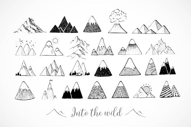 Set of hand drawn doodle sketch mountains on white background Set of hand drawn doodle sketch mountains on white background. adventure drawings stock illustrations