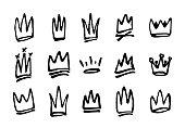 Set of hand drawn doodles crowns. Vector illustration