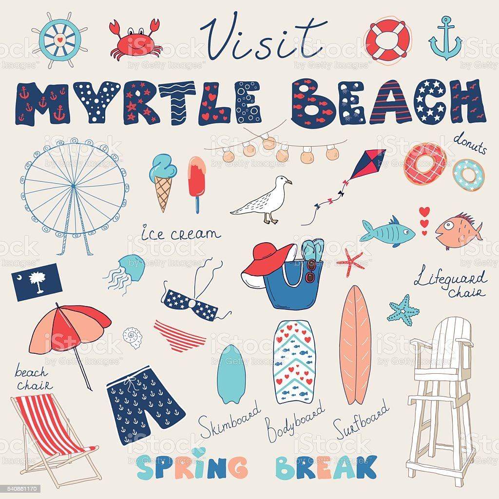 Ein Satz von handgezeichnet Kritzeleien von Myrtle Beach – Vektorgrafik