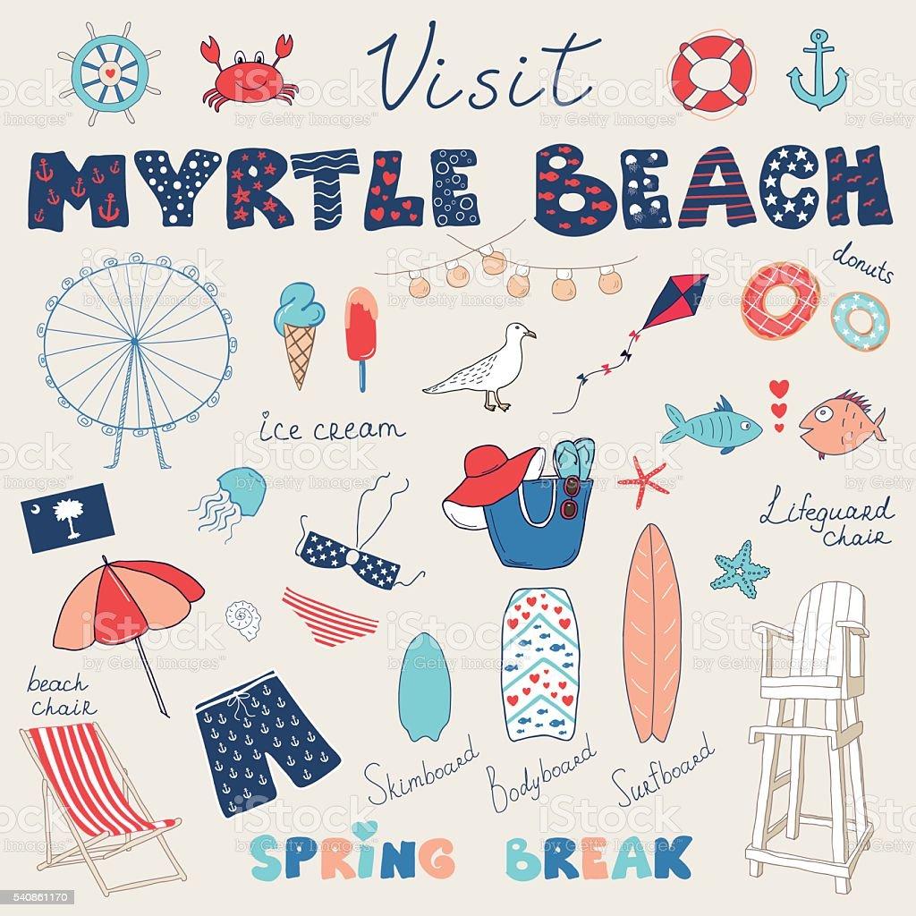 Set of hand drawn doodles of Myrtle Beach vector art illustration