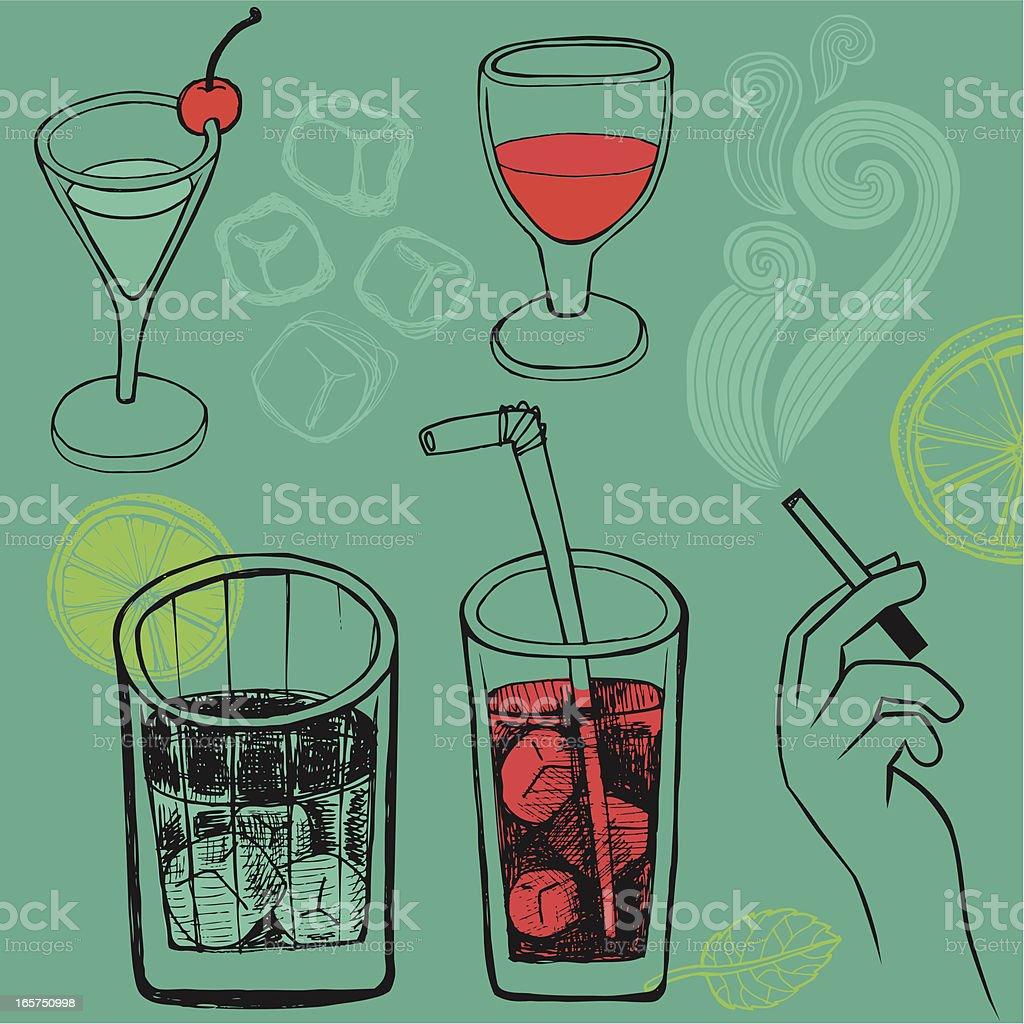 Set of hand drawn drinks royalty-free stock vector art