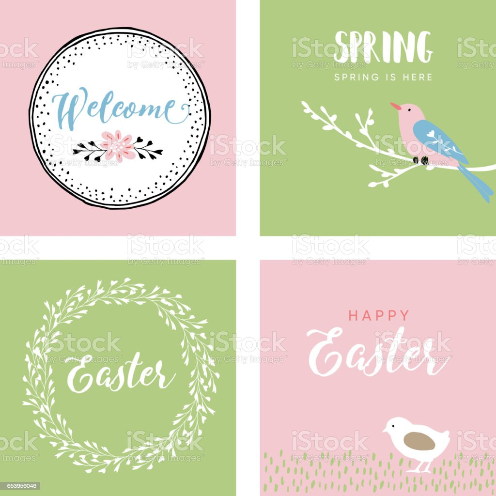 Set Of Hand Drawn Easter Greeting Cards Invitations With Bird