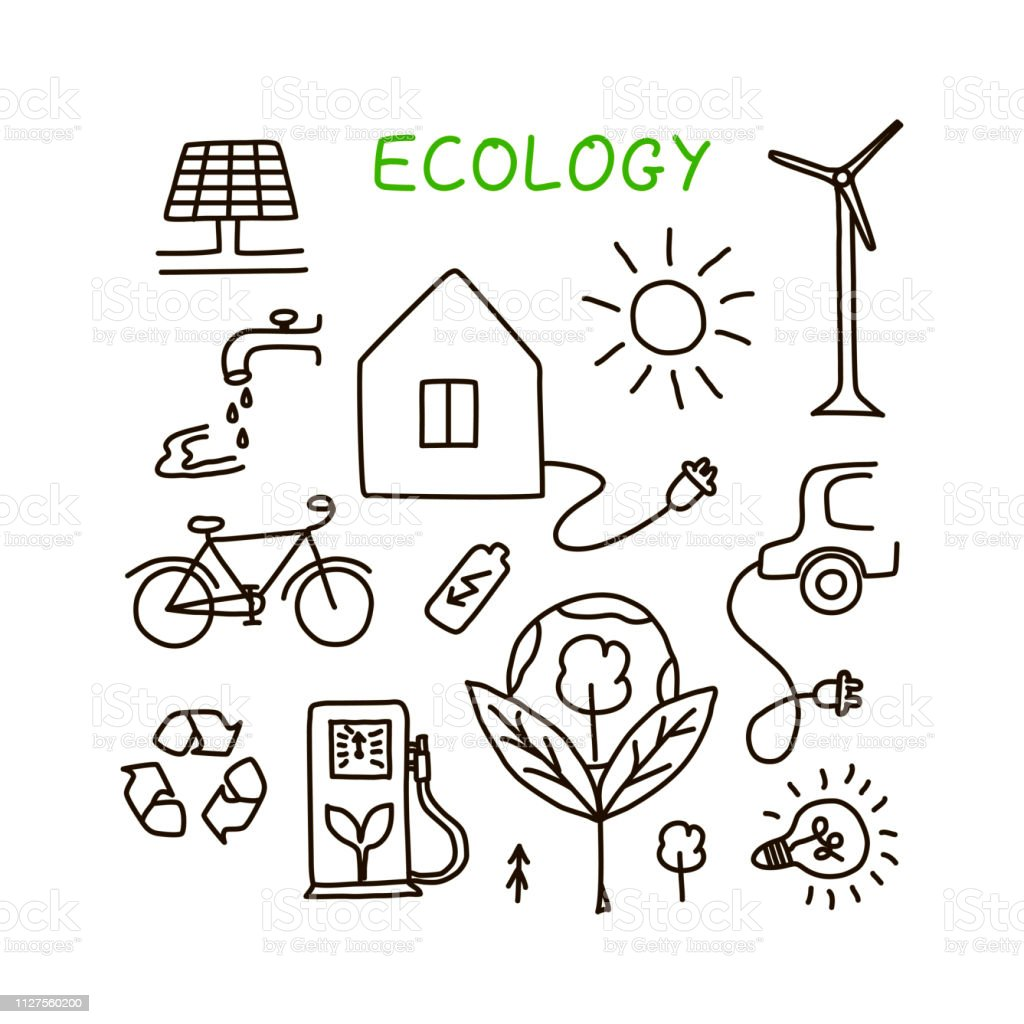 Set of hand drawn ecology symbols with house, wind power plant, solar...