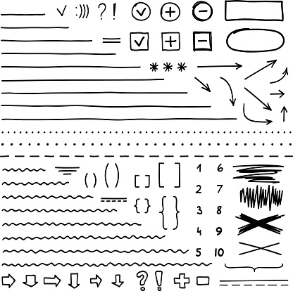 Set of hand drawn elements for edit and select text