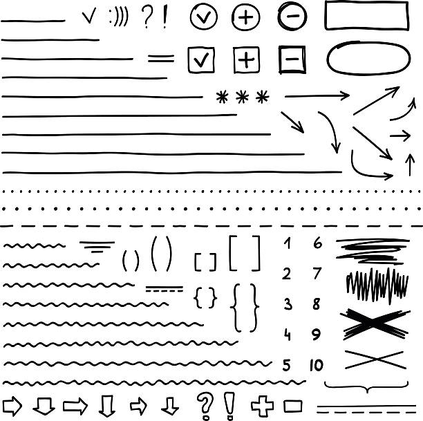 set of hand drawn elements for edit and select text - doodles and hand drawn frames stock illustrations, clip art, cartoons, & icons