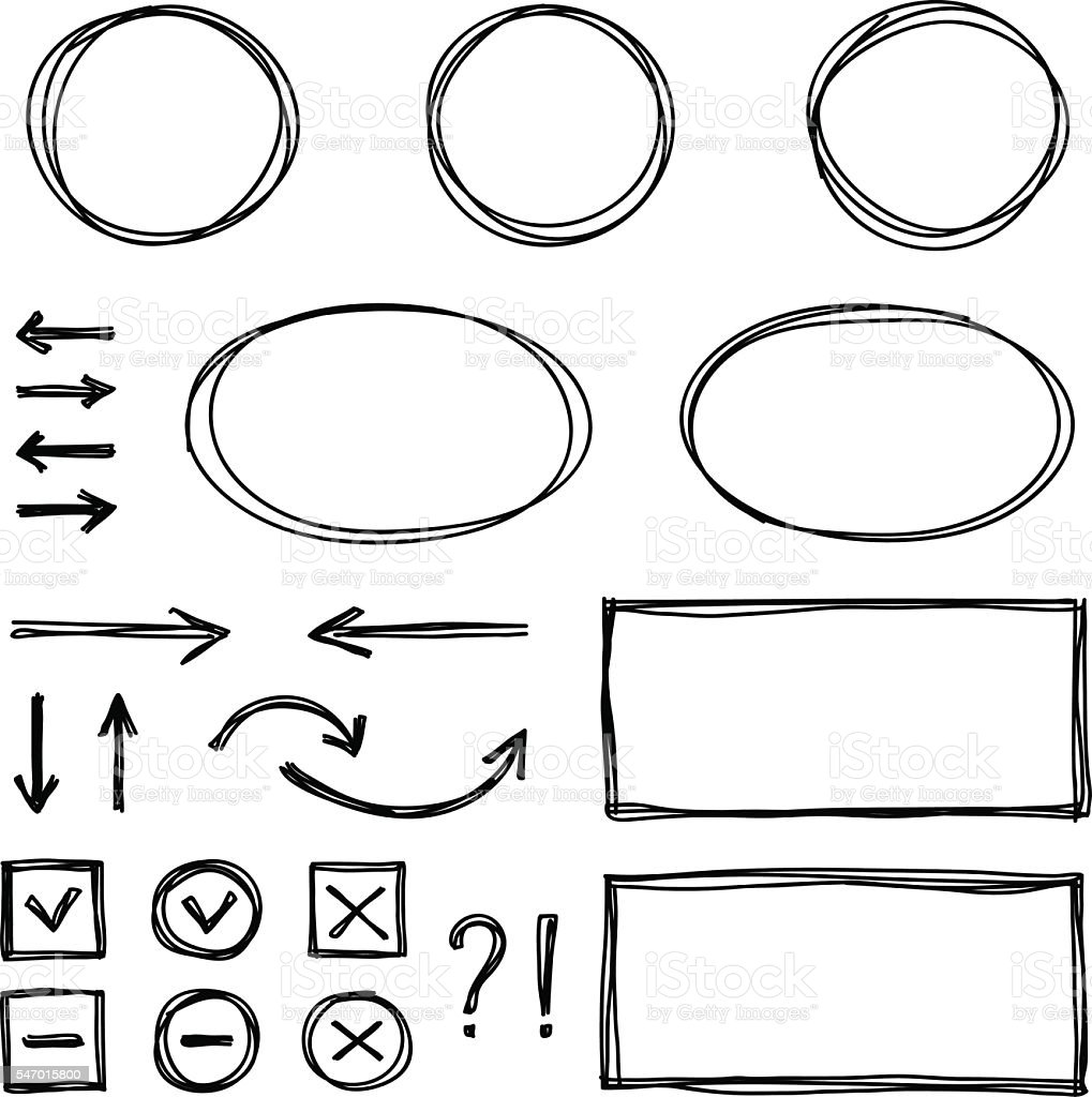 Set of hand drawn elements for selecting text. vector art illustration