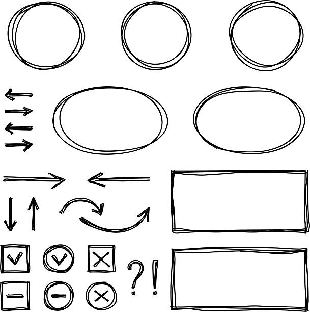 Set of hand drawn elements for selecting text. Set of hand drawn elements for selecting text. EPS10 himbeeren stock illustrations