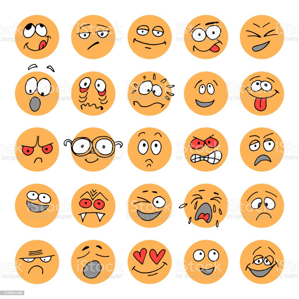 Set of hand drawn emoticons, doodle characters vector art illustration