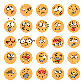 Set of hand drawn emoticons, doodle characters