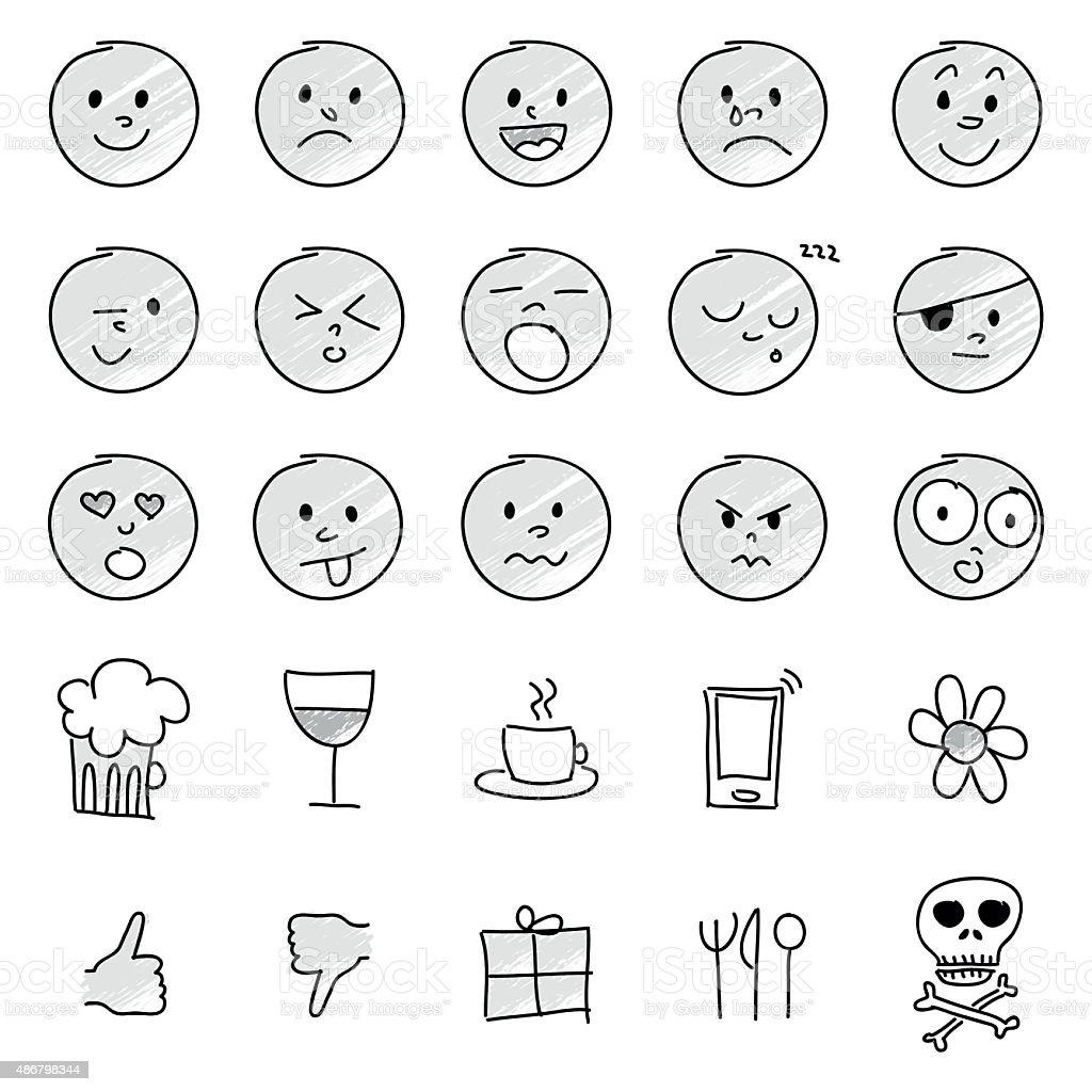 emoticons ensemble des illustrations réalisées à la main - Illustration vectorielle
