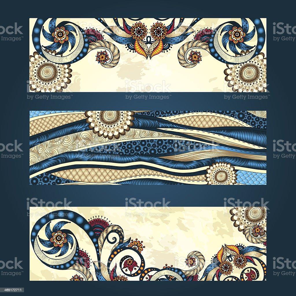 Set of hand drawn ethnic patterns in vector mode vector art illustration