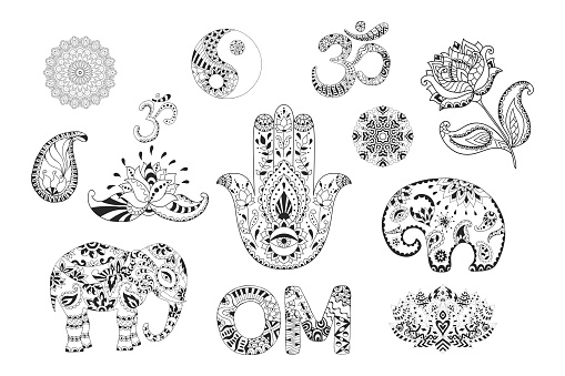 Set of hand drawn ethnic symbols