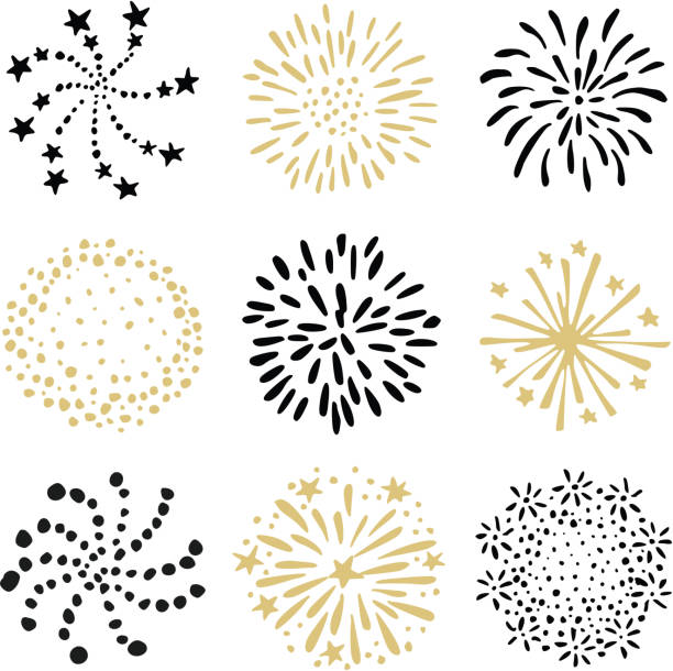 set of hand drawn fireworks and sunbursts. isolated black and gold vector objects, icons on white background. celebration concept. - anniversary drawings stock illustrations