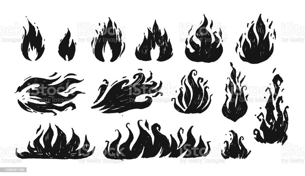 Jeu de flammes dessinés à la main. Vector - clipart vectoriel de Art libre de droits