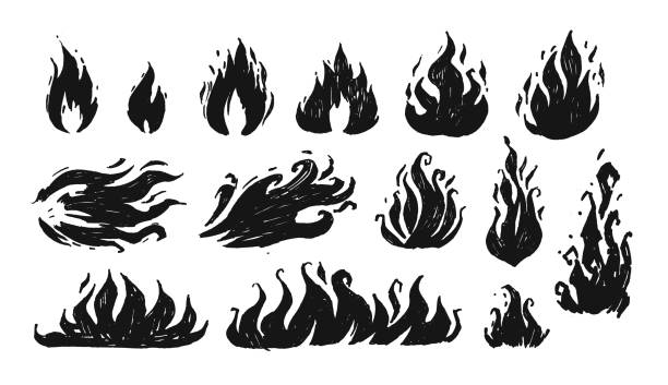 set of hand drawn flames. vector - fire tattoos stock illustrations, clip art, cartoons, & icons
