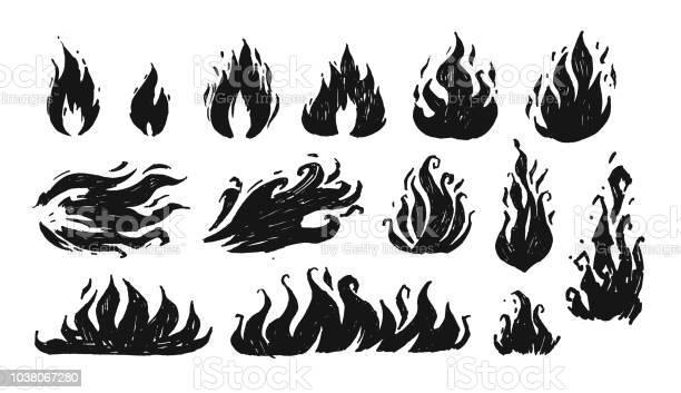 Jeu De Flammes Dessinés À La Main Vector Vecteurs libres de droits et plus d'images vectorielles de Art