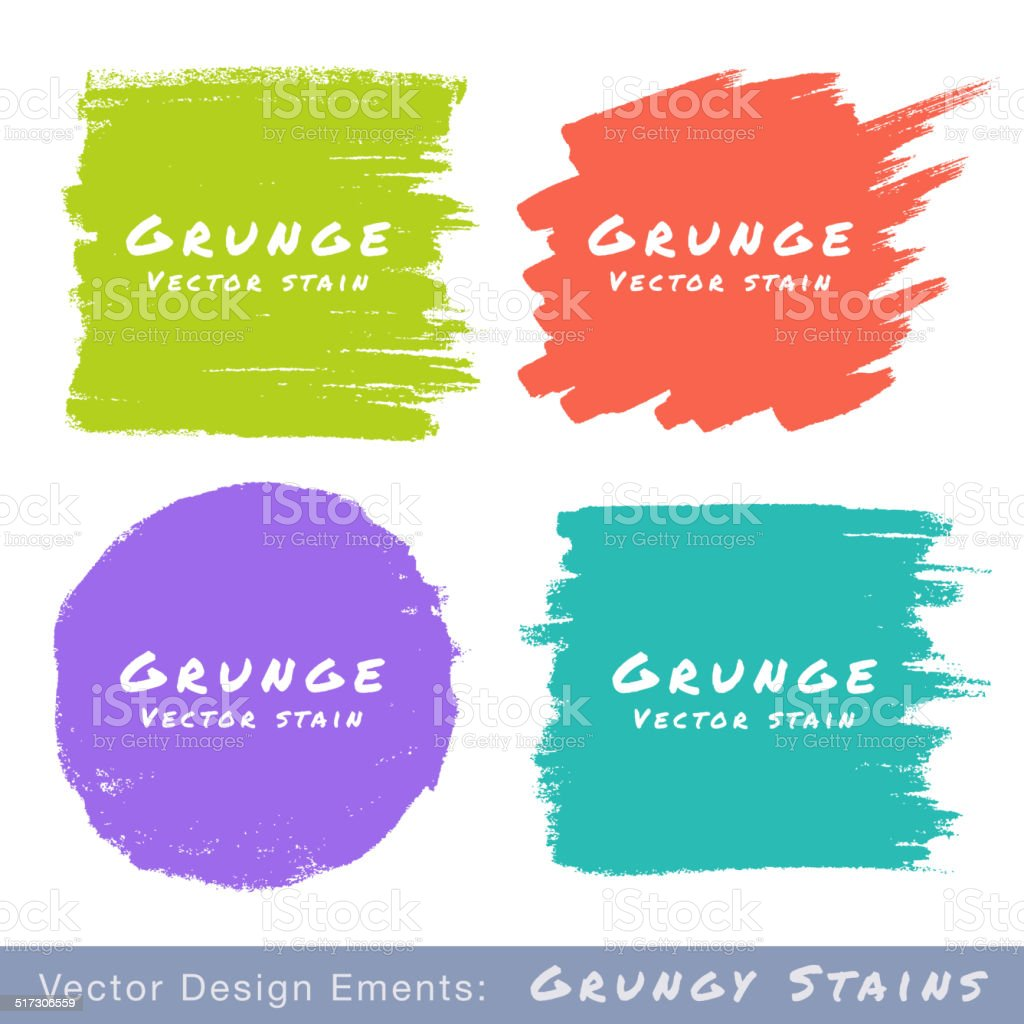 Set of Hand Drawn Flat Grunge Stains on White Background. vector art illustration