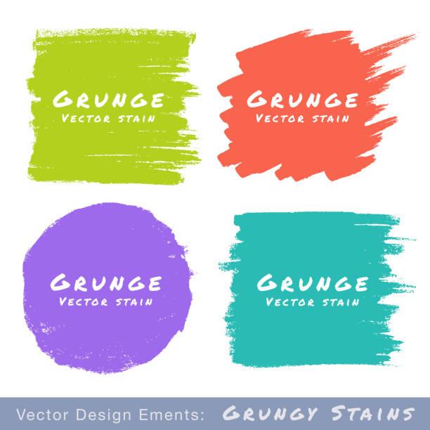 ilustraciones, imágenes clip art, dibujos animados e iconos de stock de conjunto de grunge de manchas plana dibujados a mano sobre fondo blanco. - marcos de garabatos y dibujados a mano