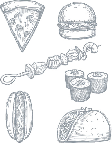 Set of hand drawn food doodles on white background