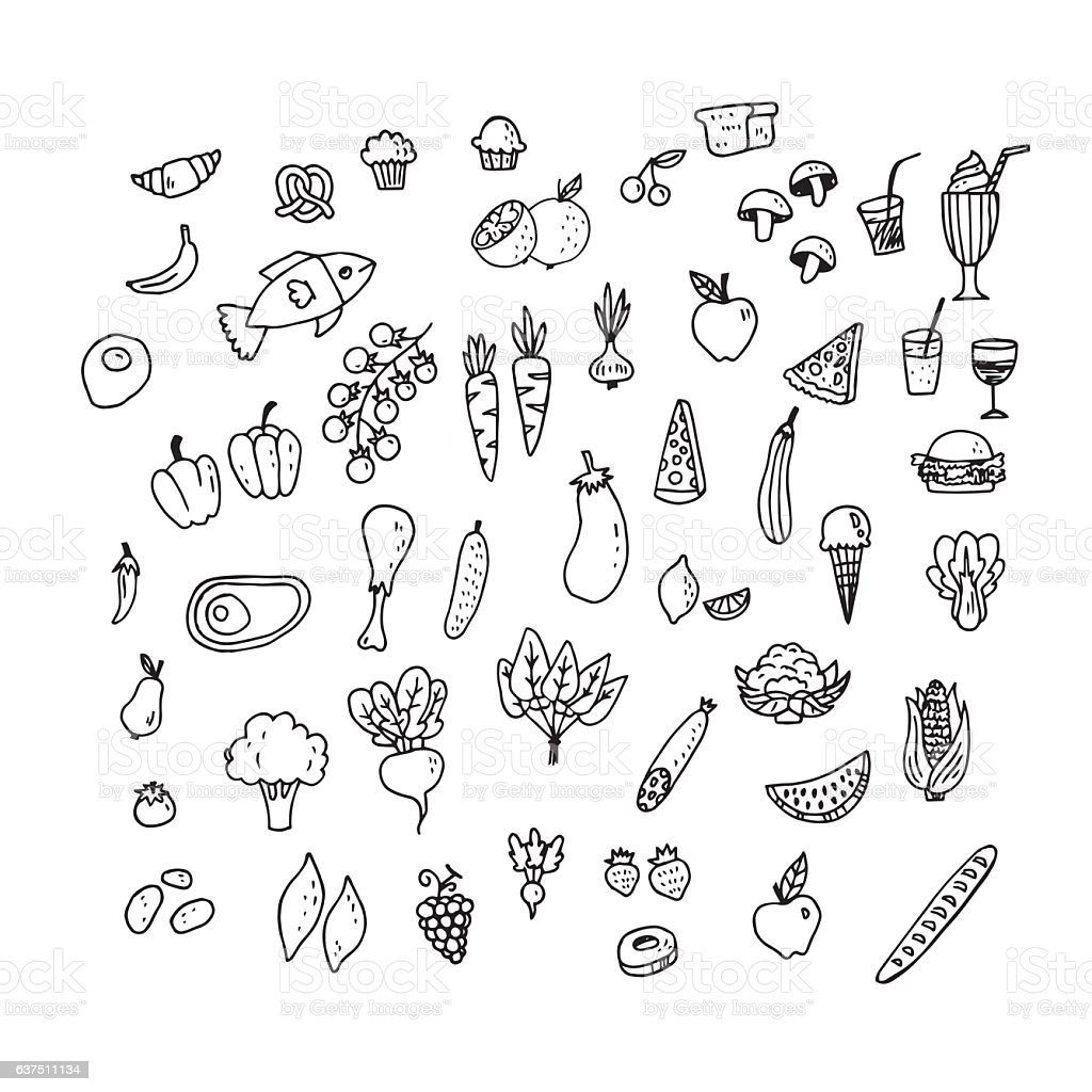 Set of hand drawn food icons - ilustración de arte vectorial