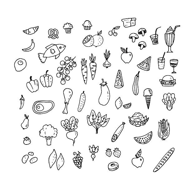 Set of hand drawn food icons vector art illustration