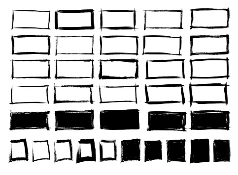 Set of hand drawn frames. Empty and full frames. Vector