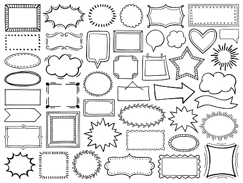 Set of hand drawn frames. Vector design elements.