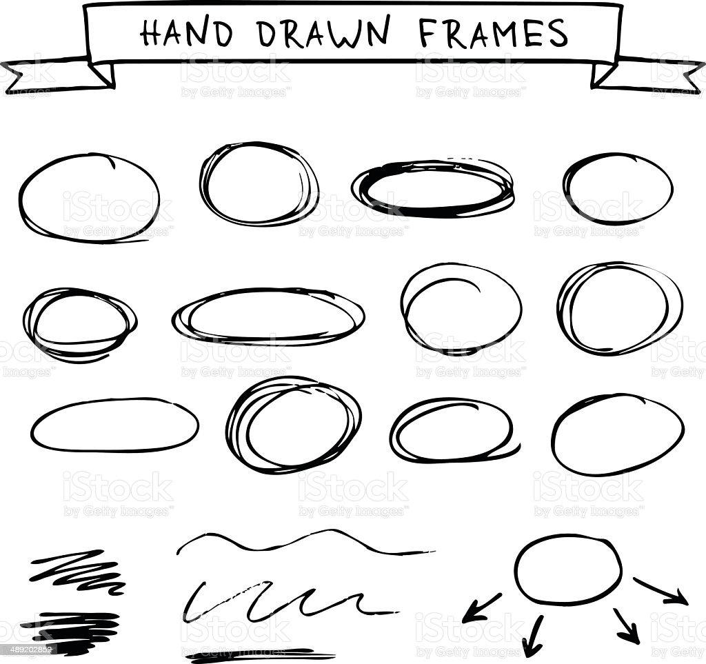 Set of hand drawn frames vector art illustration