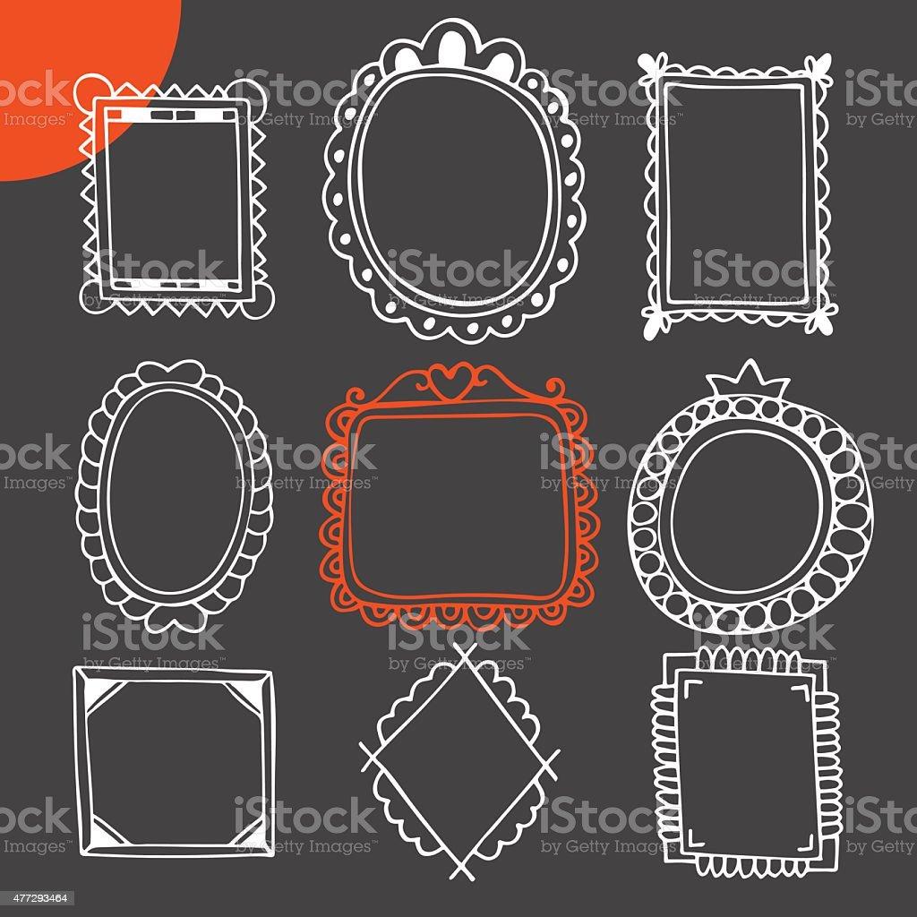 set di cornici disegnate a mano vintage cornici per foto