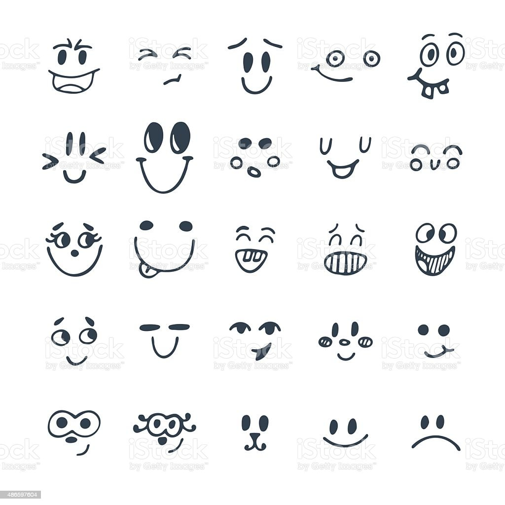 set of hand drawn funny faces cute cartoon emotional faces stock vector art more images of. Black Bedroom Furniture Sets. Home Design Ideas