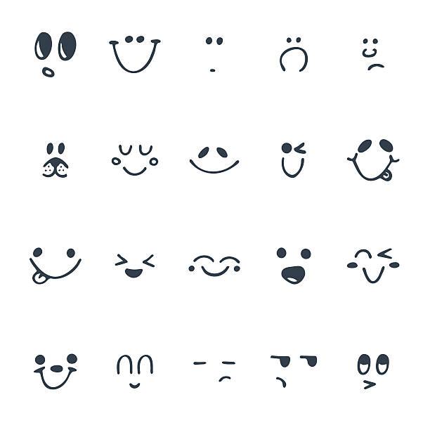 illustrazioni stock, clip art, cartoni animati e icone di tendenza di set di disegno a mano divertente facce. felice facce - lingua umana