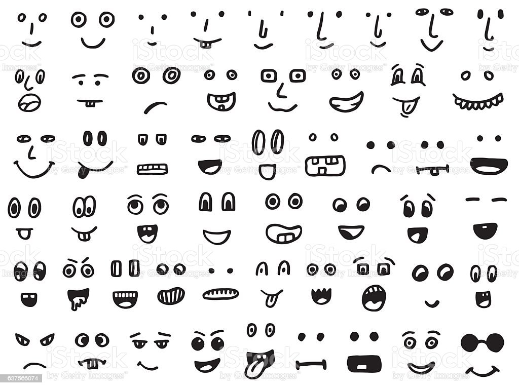 set of hand drawn funny faces vector art illustration
