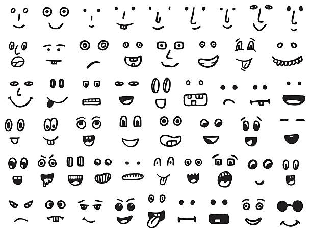 set of hand drawn funny faces - antropomorficzny stock illustrations