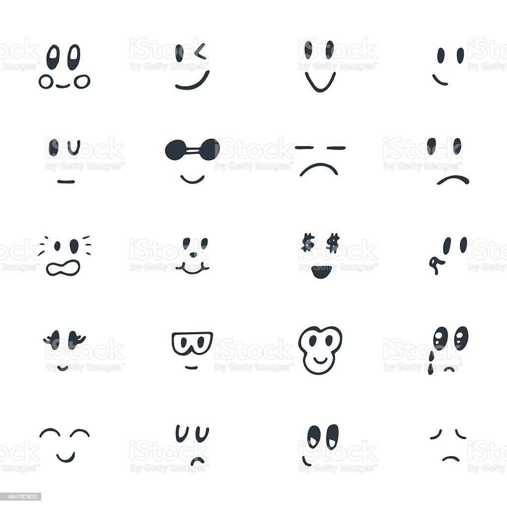 Set of hand drawn funny smiley faces sketched facial expression set of hand drawn funny smiley faces sketched facial expression royalty free set of buycottarizona Images