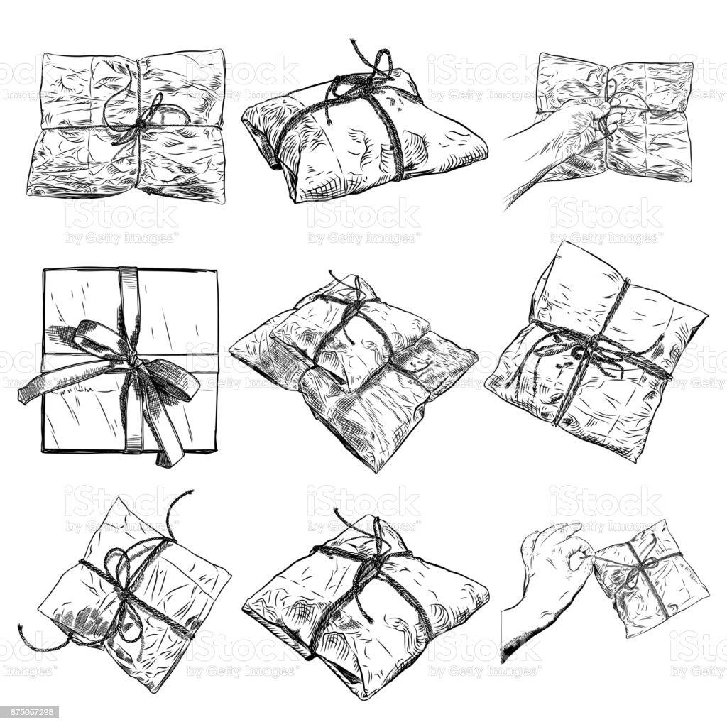 手描きのギフト ボックス、漫画スタイルの弓と魔法の箱のセットです。落書き用紙誕生日包装。白い背景上に分離。結婚式、記念日のサプライズ、誕生日ジュエリー コンセプト。ベクトル。 ベクターアートイラスト