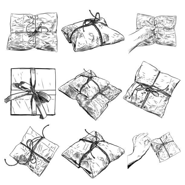 手描きのギフト ボックス、漫画スタイルの弓と魔法の箱のセットです。落書き用紙誕生日包装。白い背景上に分離。結婚式、記念日のサプライズ、誕生日ジュエリー コンセプト。ベクトル。 - 勤労感謝の日点のイラスト素材/クリップアート素材/マンガ素材/アイコン素材