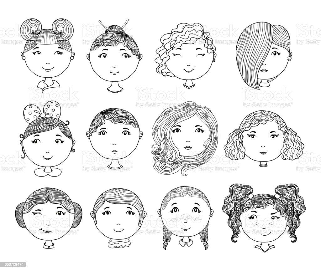 Ilustración de Conjunto De Caras De Chica De Dibujado A Mano Chicas ...