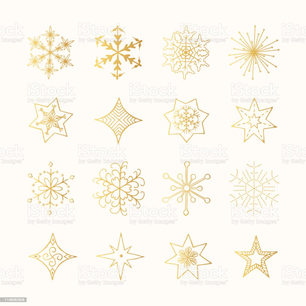 Set of hand drawn golden christmas snowflakes and winter stars. Gold...