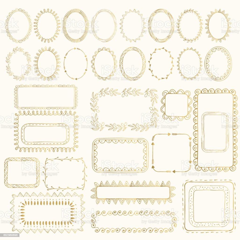 Set of hand drawn golden frames. vector art illustration