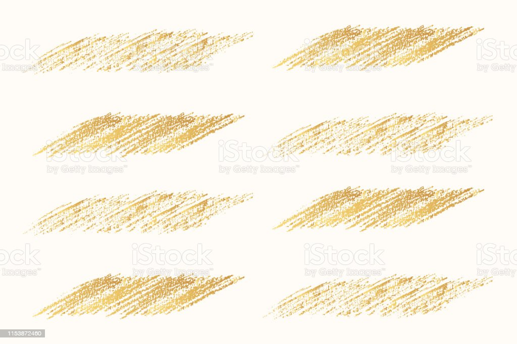 Set of hand drawn golden pencil scribble frames for text banner. Edge...