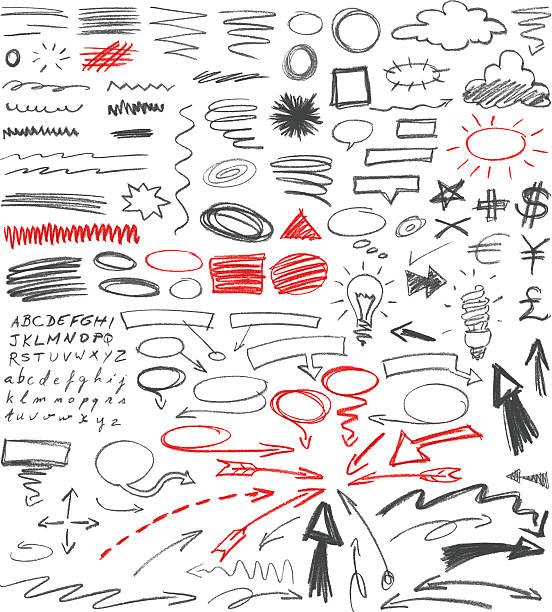 ilustrações de stock, clip art, desenhos animados e ícones de conjunto de mão desenhada sinais de gráfico.  lápis técnica. - writing ideas