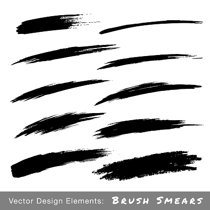 Set of Hand Drawn Grunge Brush Smears
