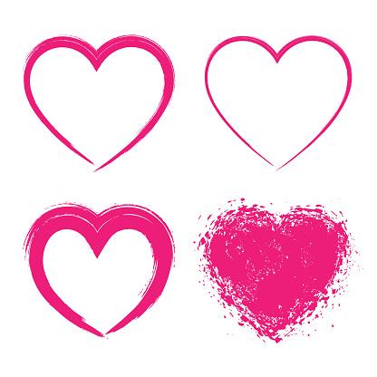 Set of Hand Drawn Grunge Hearts logo