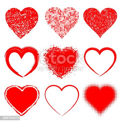 Set of Hand Drawn Grunge Hearts, vector illustration