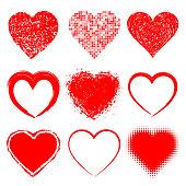 Set of Hand Drawn Grunge Hearts